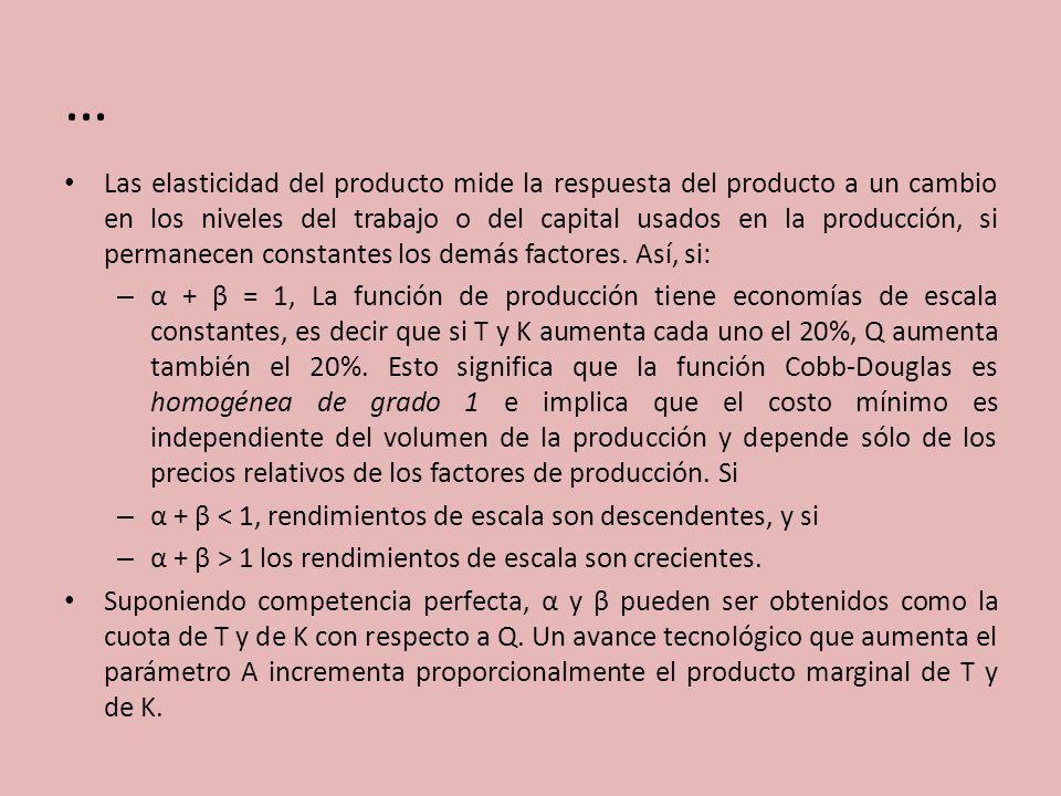 … Las elasticidad del producto mide la respuesta del producto a un cambio en los niveles del trabajo o del capital usados en la producción, si permane