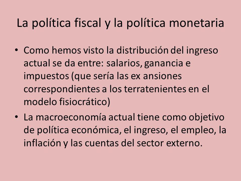 La política fiscal y la política monetaria Como hemos visto la distribución del ingreso actual se da entre: salarios, ganancia e impuestos (que sería