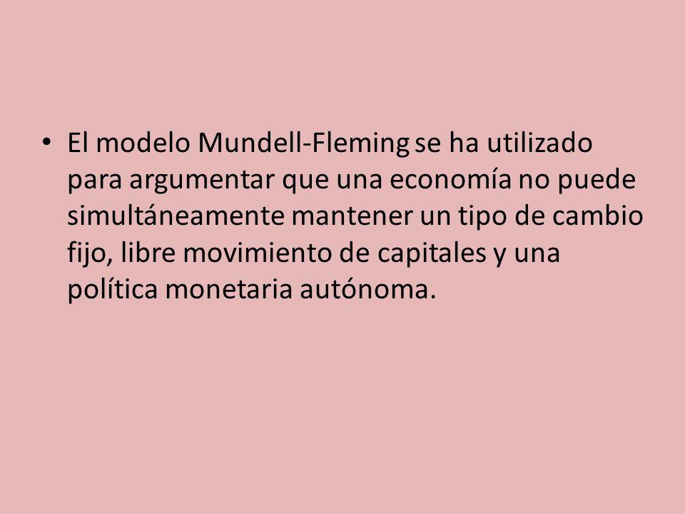 El modelo Mundell-Fleming se ha utilizado para argumentar que una economía no puede simultáneamente mantener un tipo de cambio fijo, libre movimiento