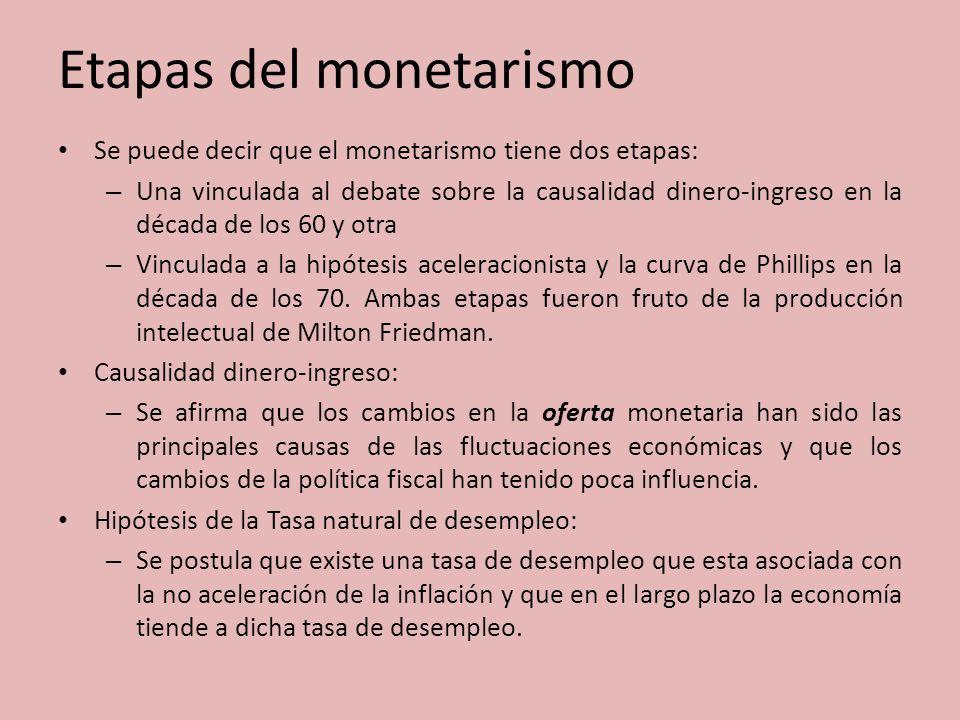 Etapas del monetarismo Se puede decir que el monetarismo tiene dos etapas: – Una vinculada al debate sobre la causalidad dinero-ingreso en la década d