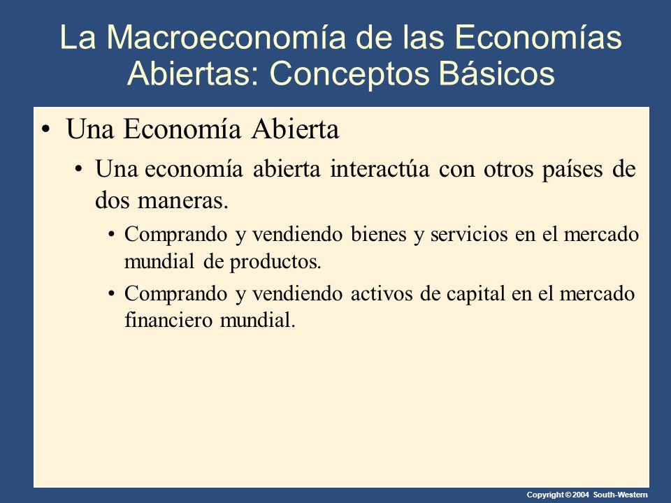 Copyright © 2004 South-Western Una Economía Abierta Una economía abierta interactúa con otros países de dos maneras.