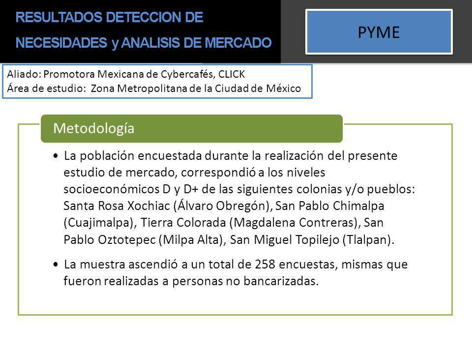 PYME Aliado: Promotora Mexicana de Cybercafés, CLICK Área de estudio: Zona Metropolitana de la Ciudad de México La población encuestada durante la rea