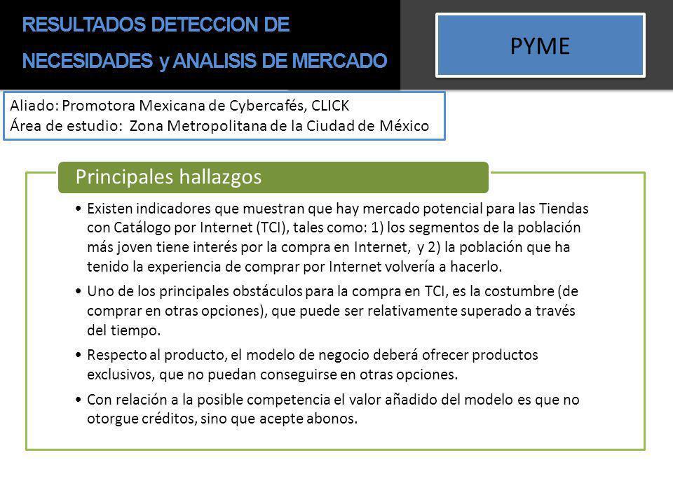 PYME Aliado: Promotora Mexicana de Cybercafés, CLICK Área de estudio: Zona Metropolitana de la Ciudad de México Existen indicadores que muestran que h