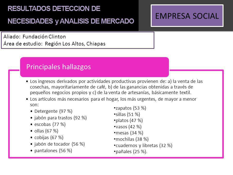 RESULTADOS DETECCION DE NECESIDADES y ANALISIS DE MERCADO EMPRESA SOCIAL Aliado: Fundación Clinton Área de estudio: Región Los Altos, Chiapas Los ingr