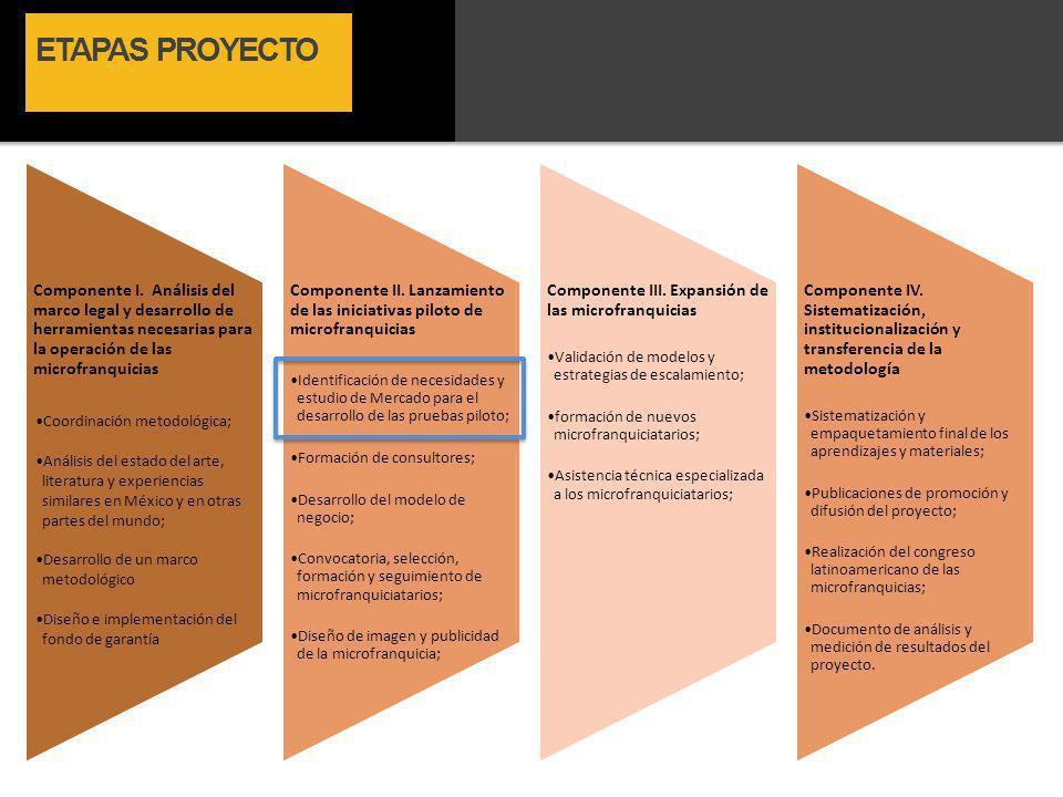 ETAPAS PROYECTO Componente I. Análisis del marco legal y desarrollo de herramientas necesarias para la operación de las microfranquicias Coordinación