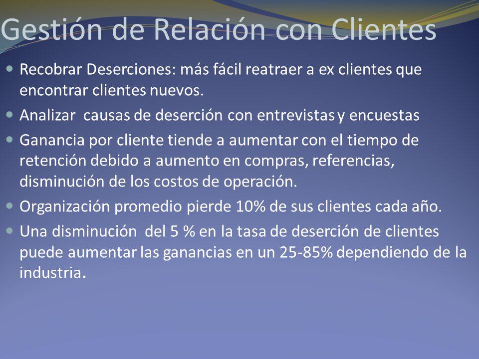 Gestión de Relación con Clientes Recobrar Deserciones: más fácil reatraer a ex clientes que encontrar clientes nuevos. Analizar causas de deserción co