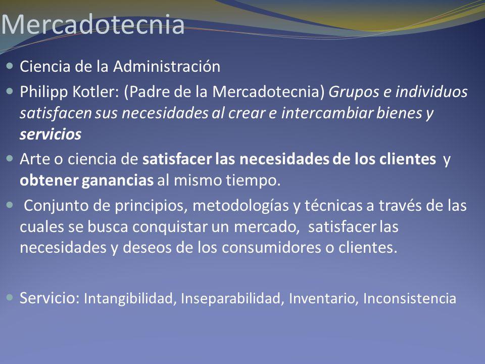 Mercadotecnia Ciencia de la Administración Philipp Kotler: (Padre de la Mercadotecnia) Grupos e individuos satisfacen sus necesidades al crear e inter