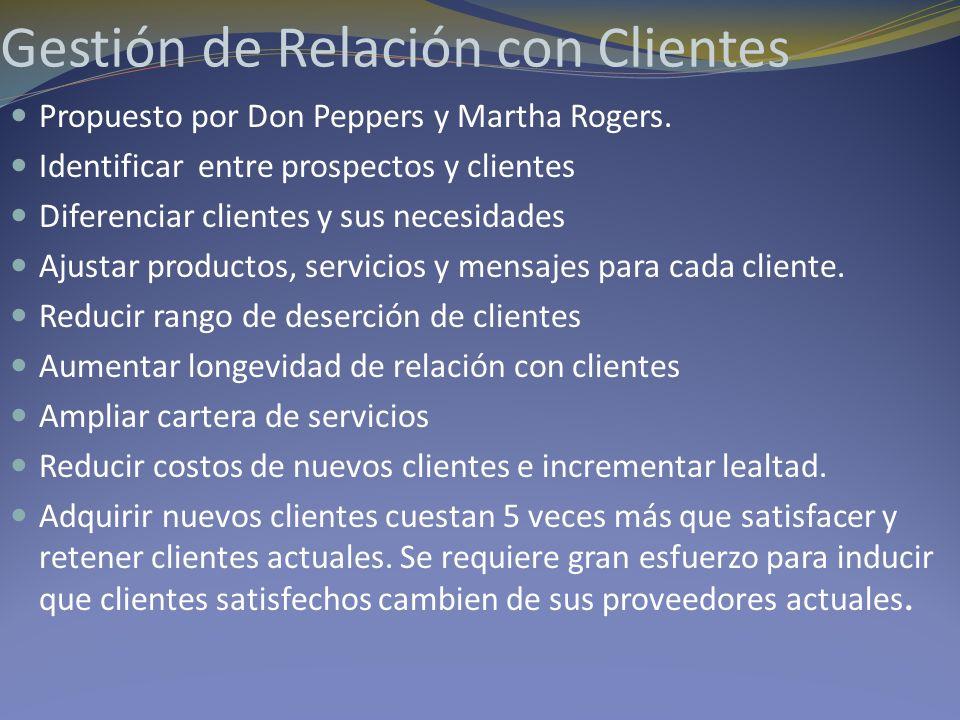 Gestión de Relación con Clientes Propuesto por Don Peppers y Martha Rogers. Identificar entre prospectos y clientes Diferenciar clientes y sus necesid