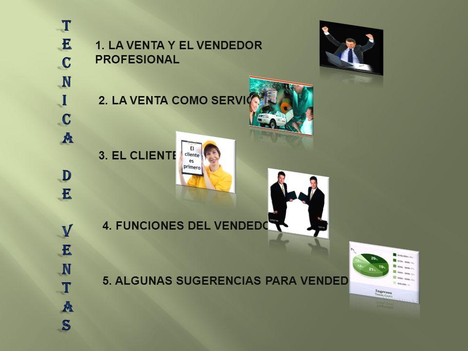 1. LA VENTA Y EL VENDEDOR PROFESIONAL 2. LA VENTA COMO SERVICIO 3. EL CLIENTE 4. FUNCIONES DEL VENDEDOR 5. ALGUNAS SUGERENCIAS PARA VENDEDORES