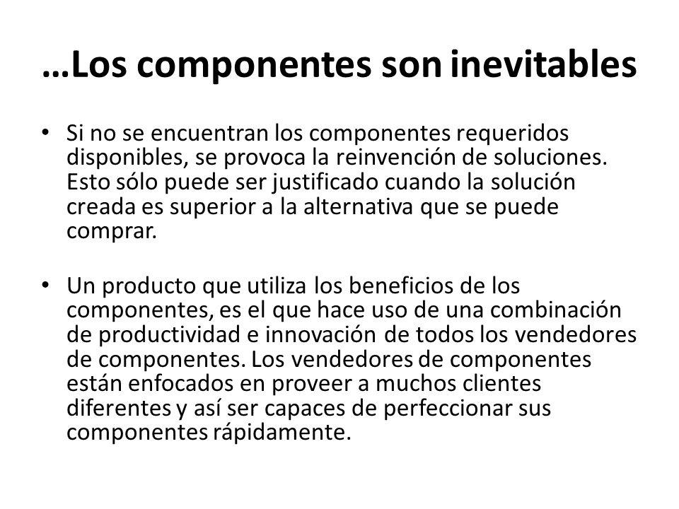 …Los componentes son inevitables Si no se encuentran los componentes requeridos disponibles, se provoca la reinvención de soluciones. Esto sólo puede