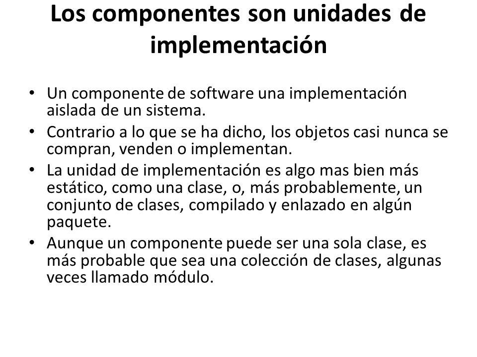 Los componentes son unidades de implementación Un componente de software una implementación aislada de un sistema. Contrario a lo que se ha dicho, los