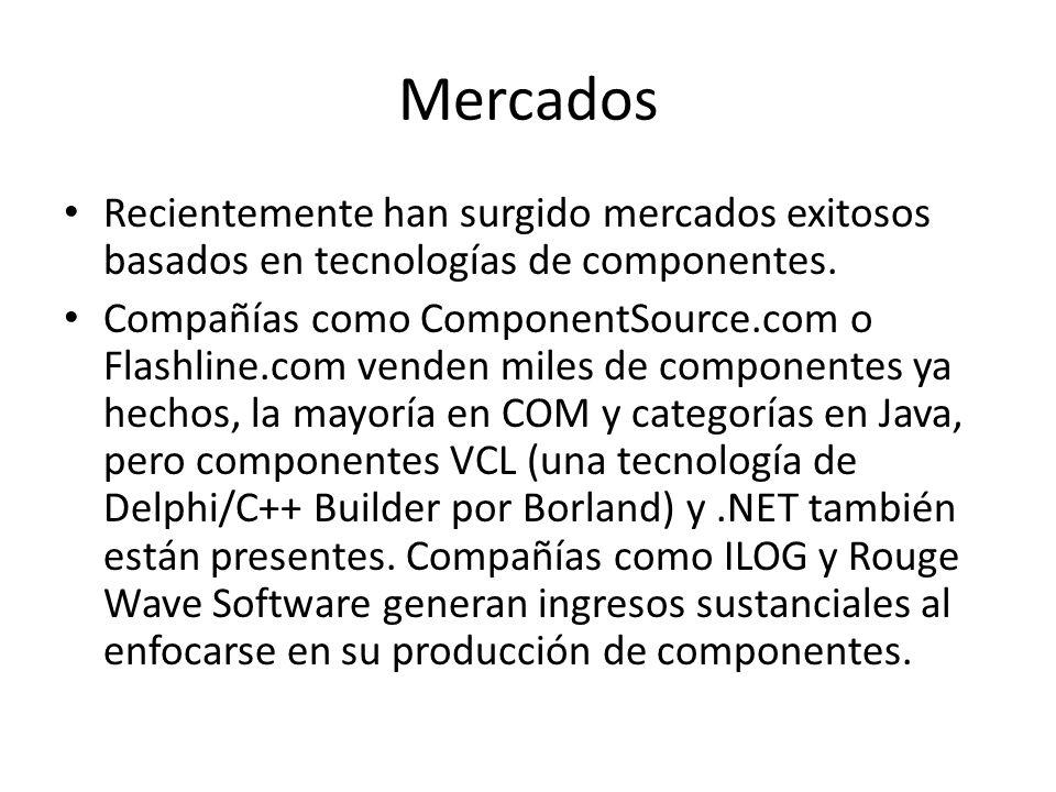 Mercados Recientemente han surgido mercados exitosos basados en tecnologías de componentes. Compañías como ComponentSource.com o Flashline.com venden
