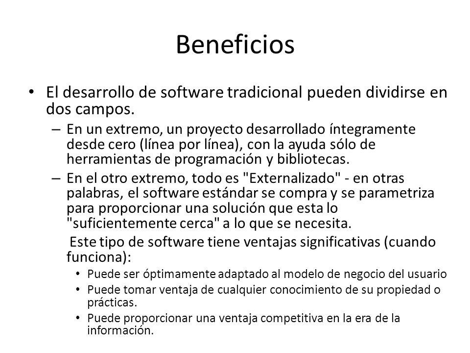 Beneficios El desarrollo de software tradicional pueden dividirse en dos campos. – En un extremo, un proyecto desarrollado íntegramente desde cero (lí
