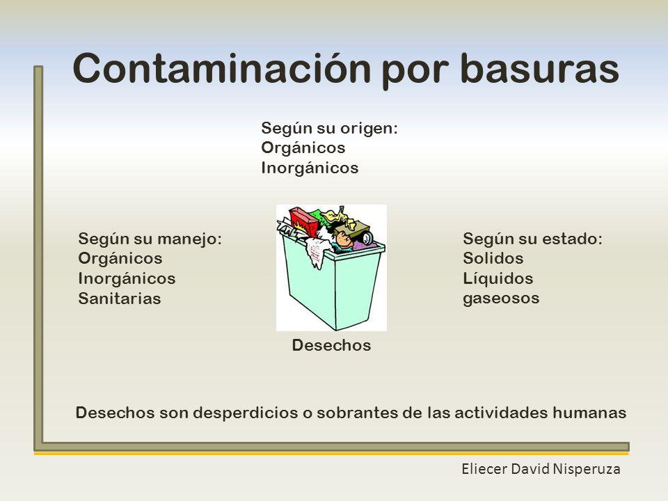 Contaminación por basuras Eliecer David Nisperuza Desechos son desperdicios o sobrantes de las actividades humanas Según su origen: Orgánicos Inorgáni