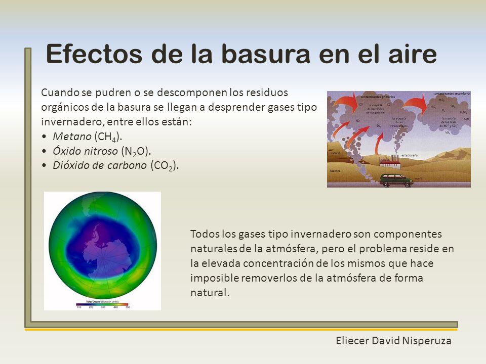 Efectos de la basura en el aire Eliecer David Nisperuza Cuando se pudren o se descomponen los residuos orgánicos de la basura se llegan a desprender g