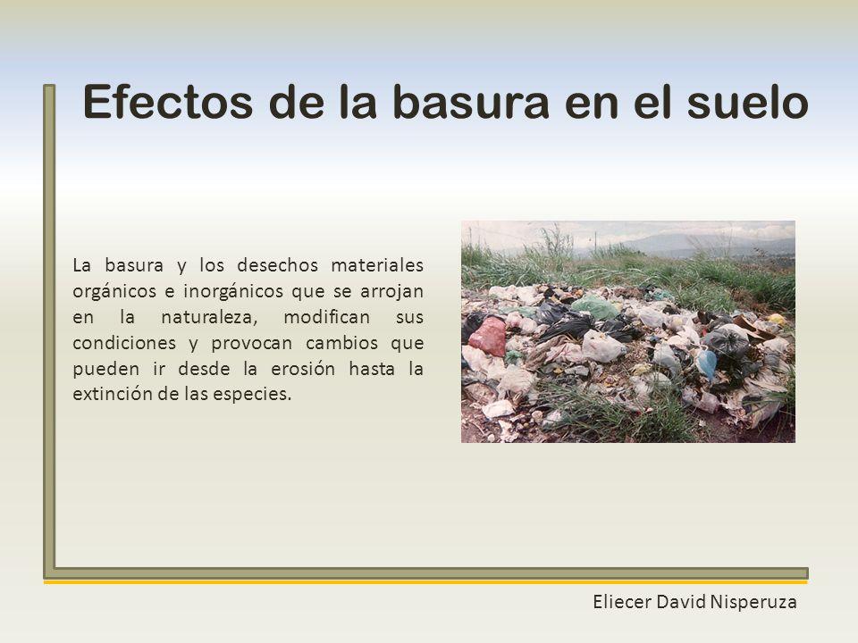 Eliecer David Nisperuza Efectos de la basura en el suelo La basura y los desechos materiales orgánicos e inorgánicos que se arrojan en la naturaleza,