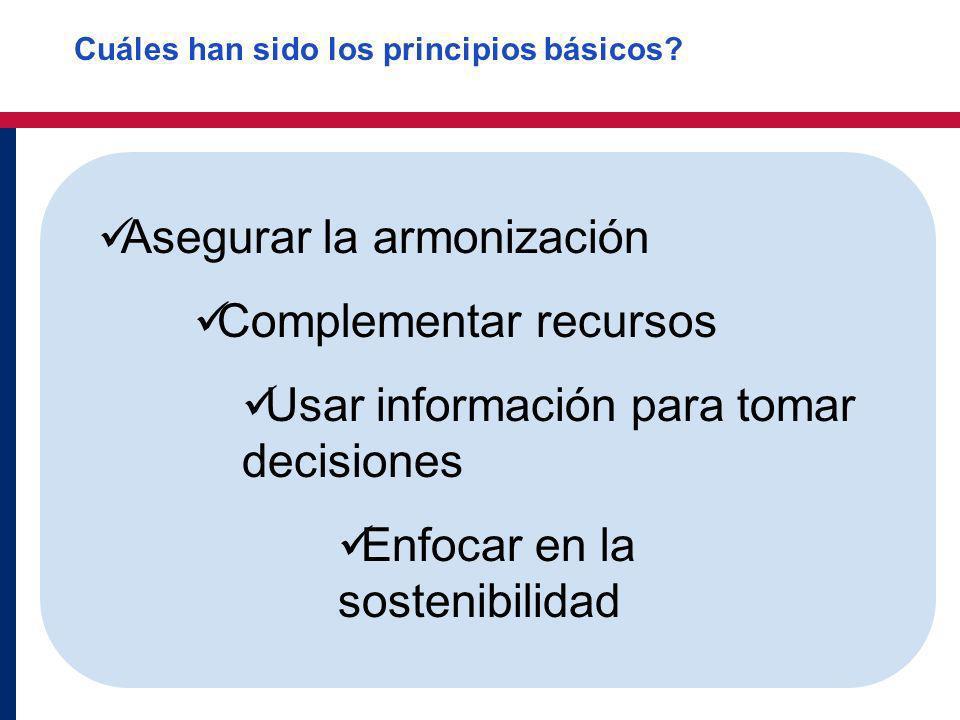 Asegurar la armonización Complementar recursos Usar información para tomar decisiones Enfocar en la sostenibilidad Cuáles han sido los principios bási