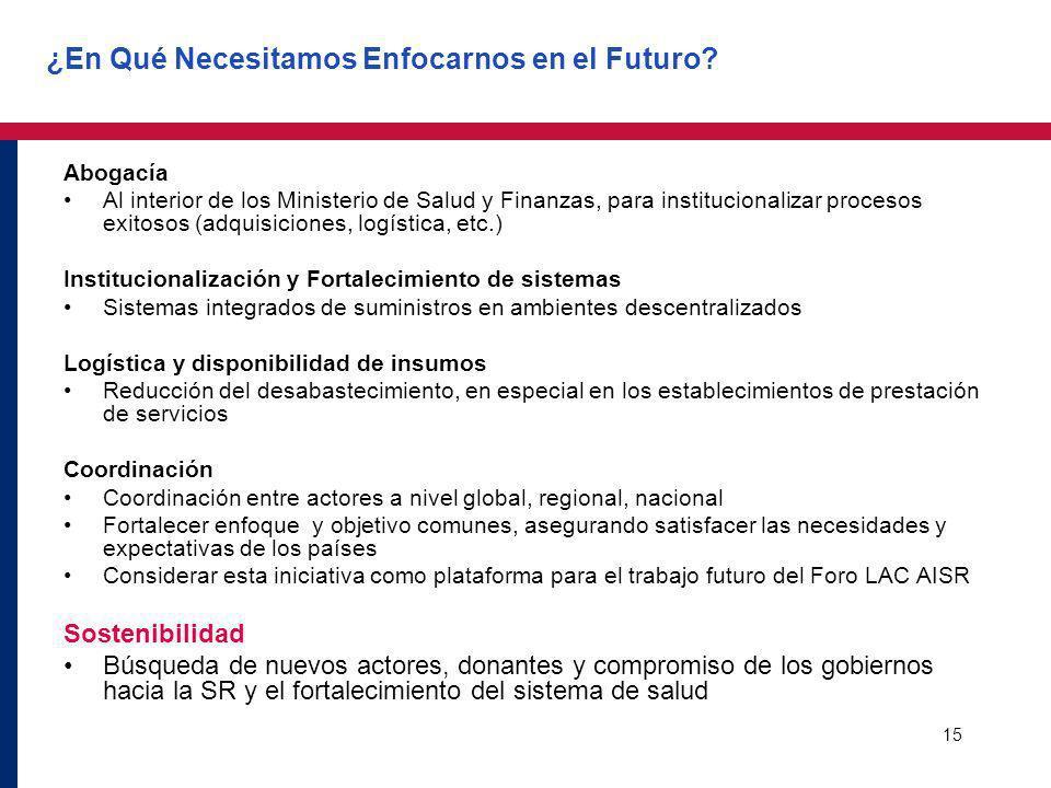 15 ¿En Qué Necesitamos Enfocarnos en el Futuro? Abogacía Al interior de los Ministerio de Salud y Finanzas, para institucionalizar procesos exitosos (