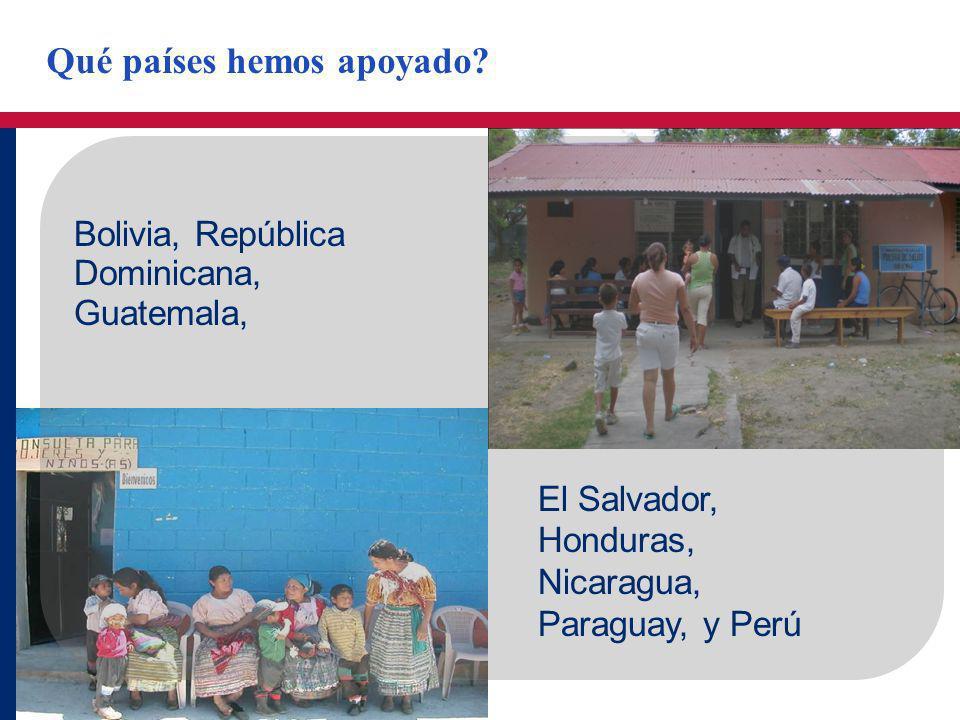 Bolivia, República Dominicana, Guatemala, El Salvador, Honduras, Nicaragua, Paraguay, y Perú Qué países hemos apoyado?