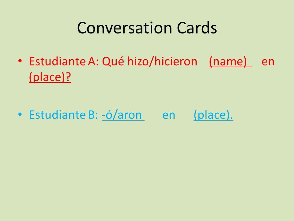 Conversation Cards Estudiante A: Qué hizo/hicieron (name) en (place).