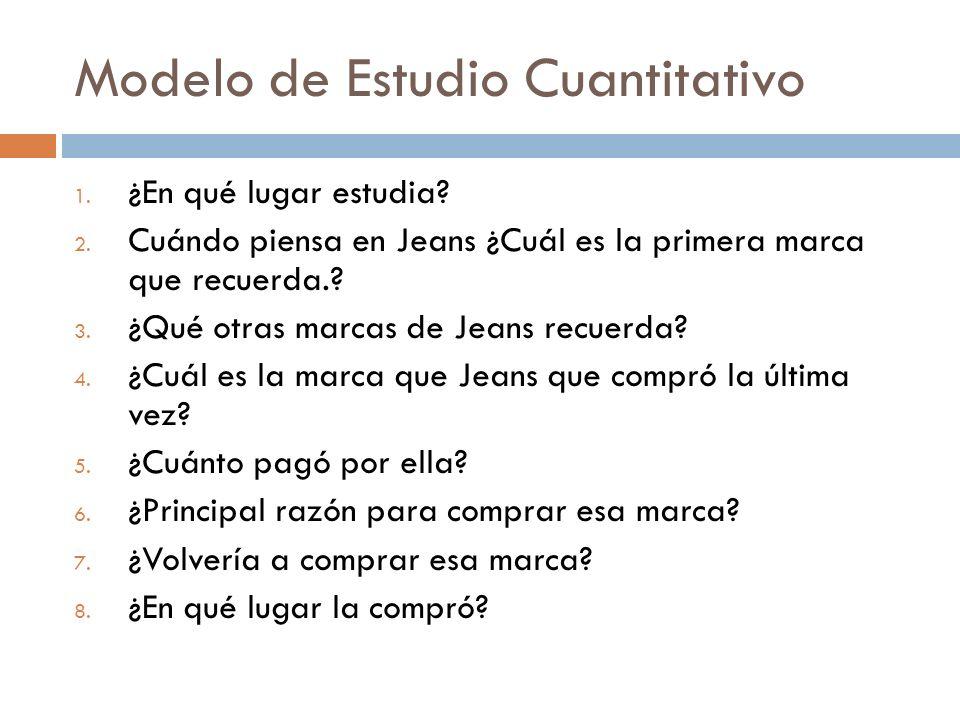 Modelo de Estudio Cuantitativo 1. ¿En qué lugar estudia? 2. Cuándo piensa en Jeans ¿Cuál es la primera marca que recuerda.? 3. ¿Qué otras marcas de Je