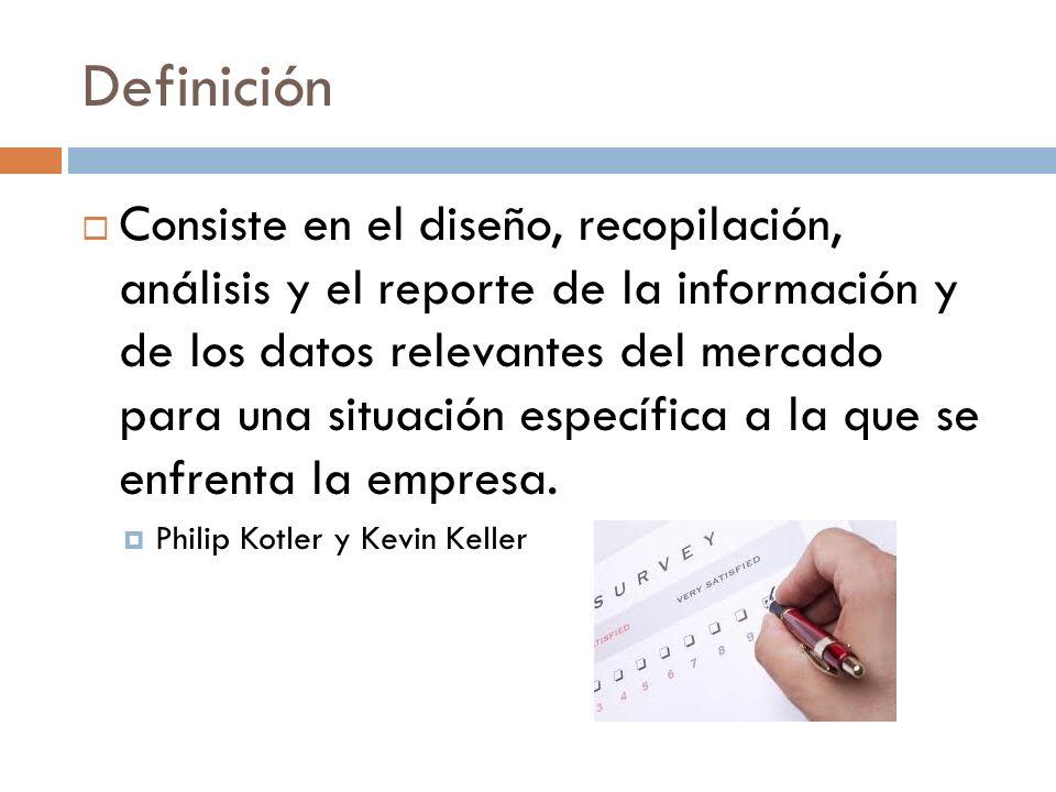 Definición Consiste en el diseño, recopilación, análisis y el reporte de la información y de los datos relevantes del mercado para una situación espec