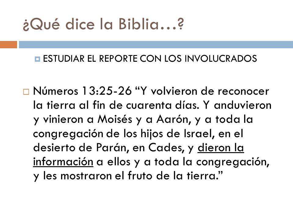¿Qué dice la Biblia…? ESTUDIAR EL REPORTE CON LOS INVOLUCRADOS Números 13:25-26 Y volvieron de reconocer la tierra al fin de cuarenta días. Y anduvier