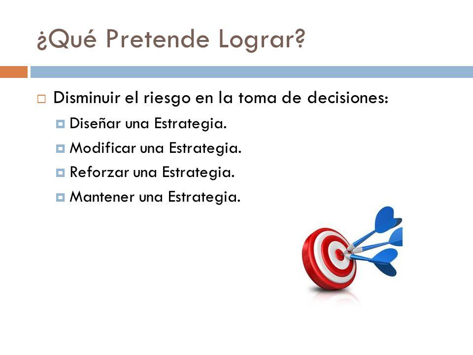 ¿Qué Pretende Lograr? Disminuir el riesgo en la toma de decisiones: Diseñar una Estrategia. Modificar una Estrategia. Reforzar una Estrategia. Mantene