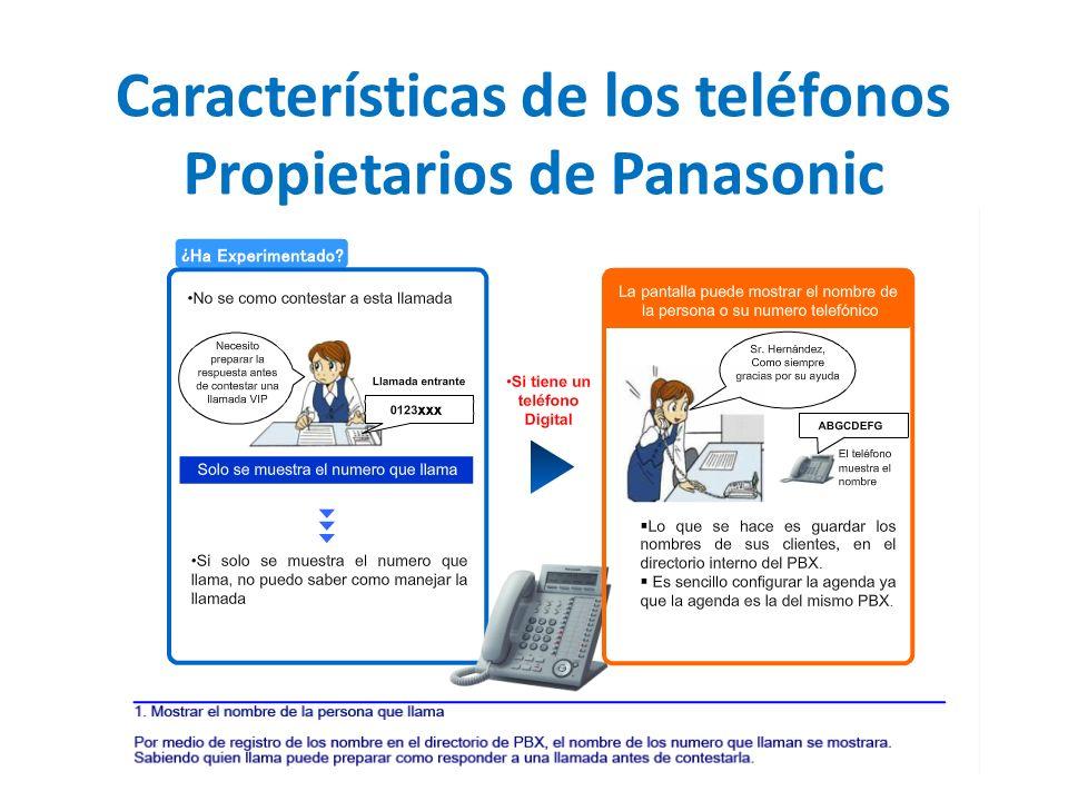 Características de los teléfonos Propietarios de Panasonic