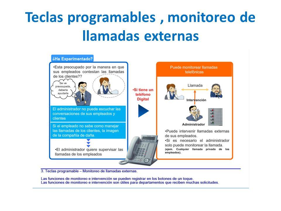 Teclas programables, monitoreo de llamadas externas