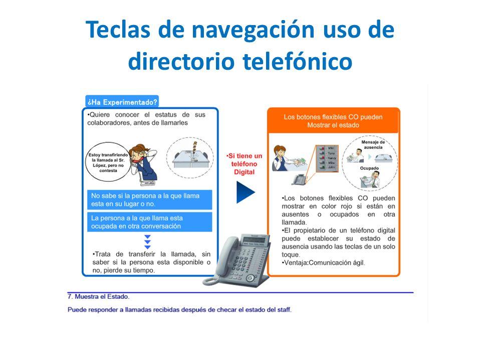 Teclas de navegación uso de directorio telefónico