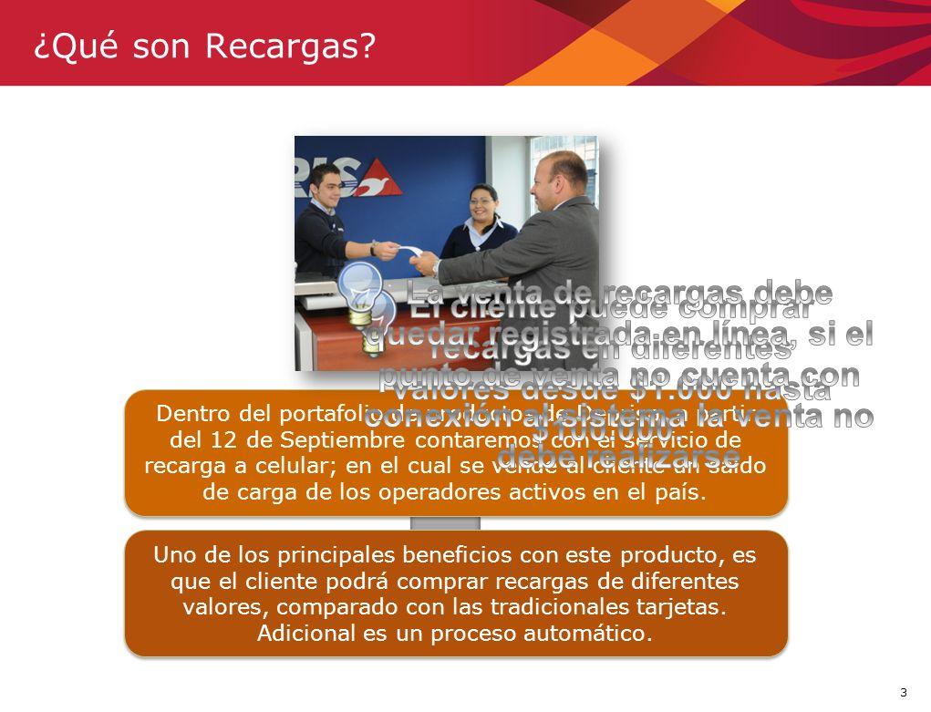 3 ¿Qué son Recargas? Dentro del portafolio de productos de Deprisa, a partir del 12 de Septiembre contaremos con el servicio de recarga a celular; en
