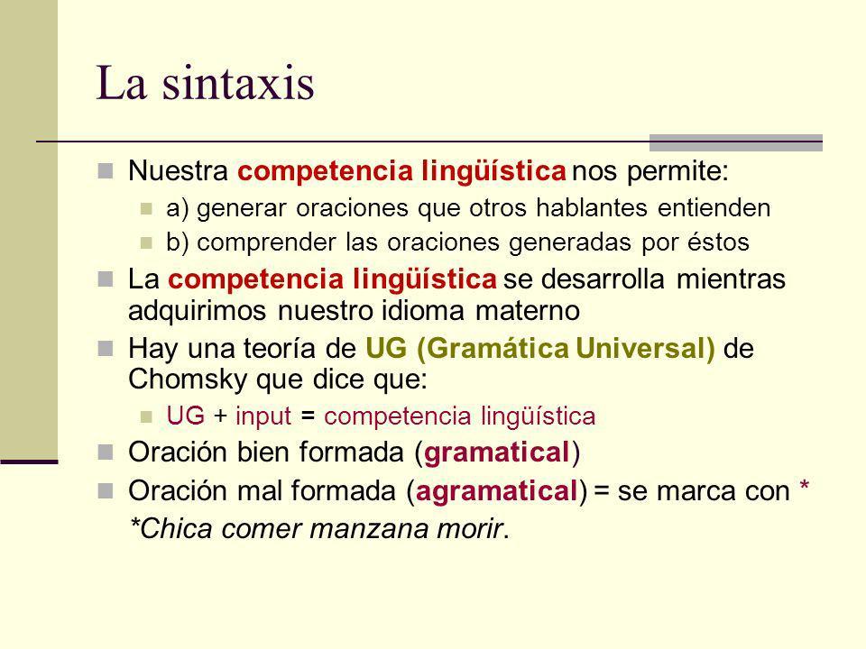 La sintaxis Nuestra competencia lingüística nos permite: a) generar oraciones que otros hablantes entienden b) comprender las oraciones generadas por