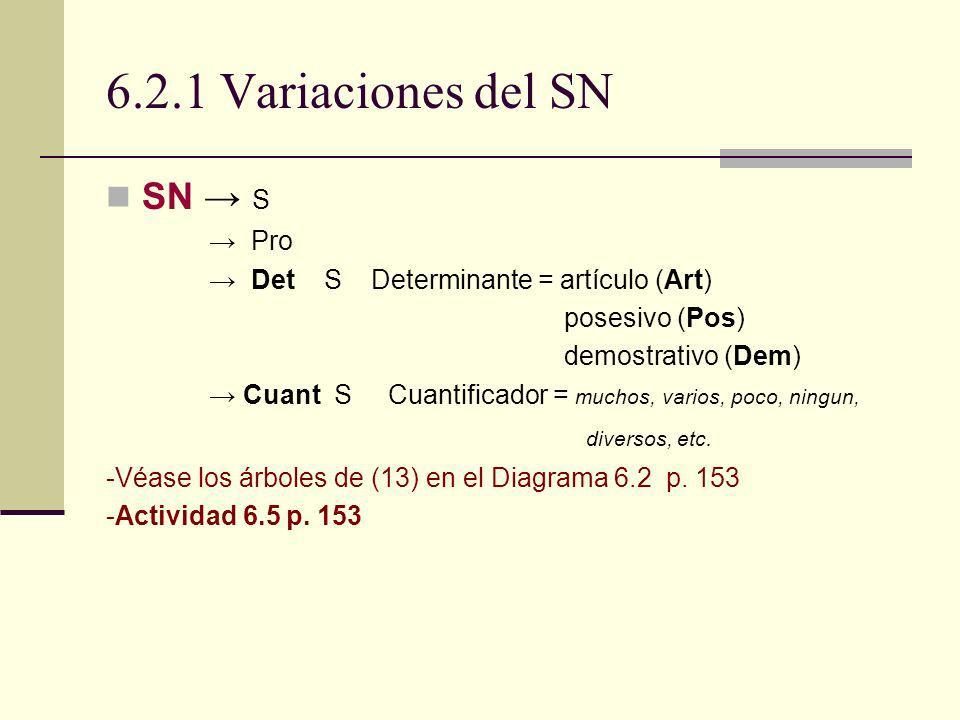 6.2.1 Variaciones del SN SN S Pro Det S Determinante = artículo (Art) posesivo (Pos) demostrativo (Dem) Cuant S Cuantificador = muchos, varios, poco,