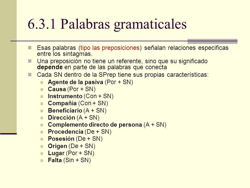 6.3.1 Palabras gramaticales Esas palabras (tipo las preposiciones) señalan relaciones especificas entre los sintagmas. Una preposición no tiene un ref