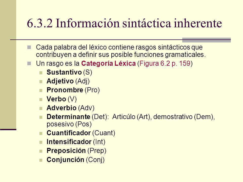 6.3.2 Información sintáctica inherente Cada palabra del léxico contiene rasgos sintácticos que contribuyen a definir sus posible funciones gramaticale