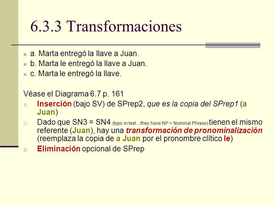 6.3.3 Transformaciones a. Marta entregó la llave a Juan. b. Marta le entregó la llave a Juan. c. Marta le entregó la llave. Véase el Diagrama 6.7 p. 1