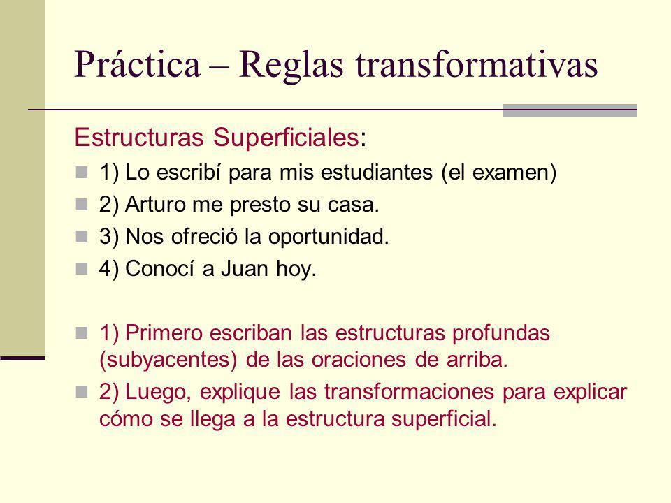 Práctica – Reglas transformativas Estructuras Superficiales: 1) Lo escribí para mis estudiantes (el examen) 2) Arturo me presto su casa. 3) Nos ofreci