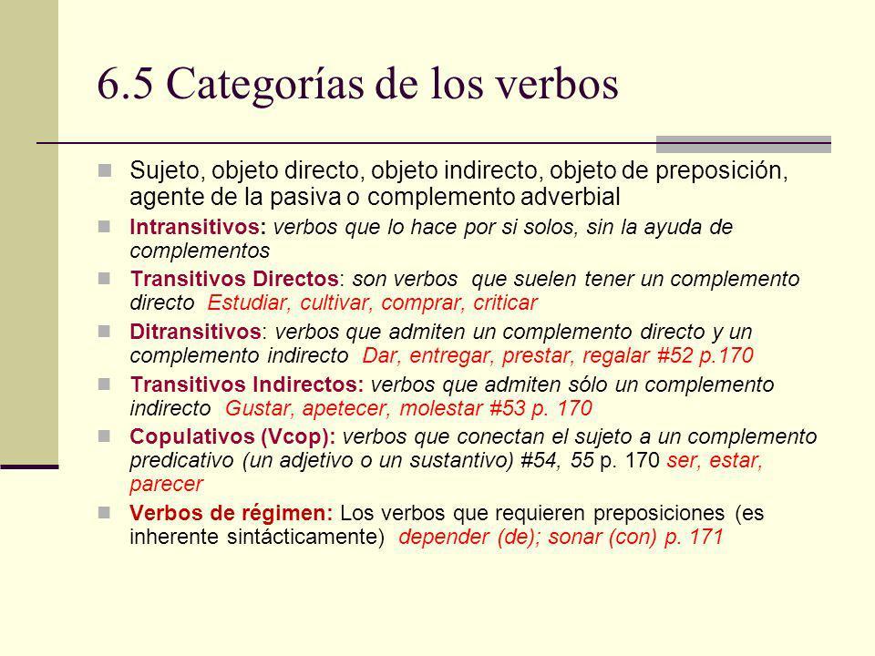 6.5 Categorías de los verbos Sujeto, objeto directo, objeto indirecto, objeto de preposición, agente de la pasiva o complemento adverbial Intransitivo