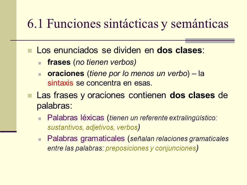 6.1 Funciones sintácticas y semánticas Las palabras que forman las oraciones (sus constituyentes) tienen dos clases de funciones : Funciones semánticas Tienen que ver con el significado de un constituyente.