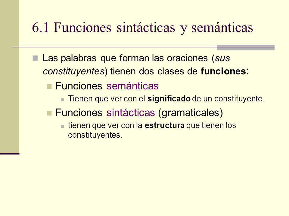 6.1 Funciones sintácticas y semánticas Las palabras que forman las oraciones (sus constituyentes) tienen dos clases de funciones : Funciones semántica