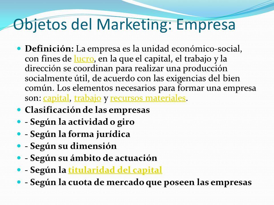 Objetos del Marketing: Empresa Definición: La empresa es la unidad económico-social, con fines de lucro, en la que el capital, el trabajo y la direcci
