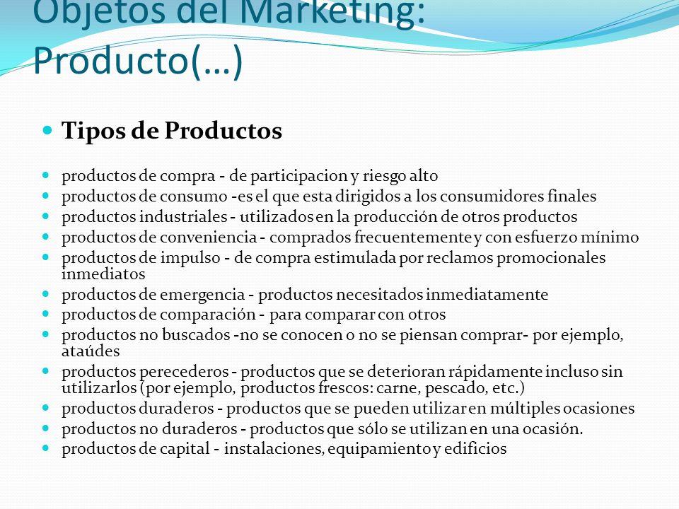 Objetos del Marketing: Producto(…) Tipos de Productos productos de compra - de participacion y riesgo alto productos de consumo -es el que esta dirigi