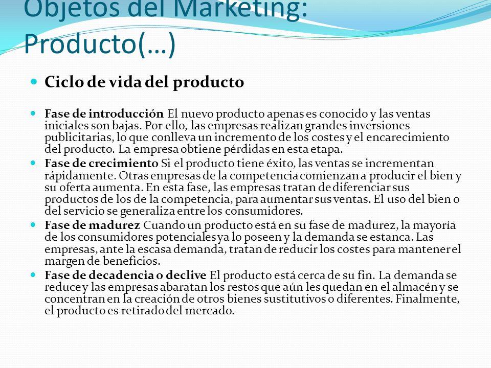 Objetos del Marketing: Producto(…) Ciclo de vida del producto Fase de introducción El nuevo producto apenas es conocido y las ventas iniciales son baj