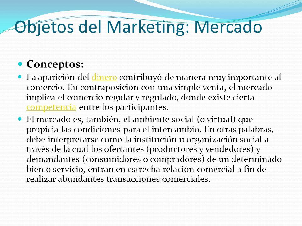 Objetos del Marketing: Mercado Conceptos: La aparición del dinero contribuyó de manera muy importante al comercio. En contraposición con una simple ve