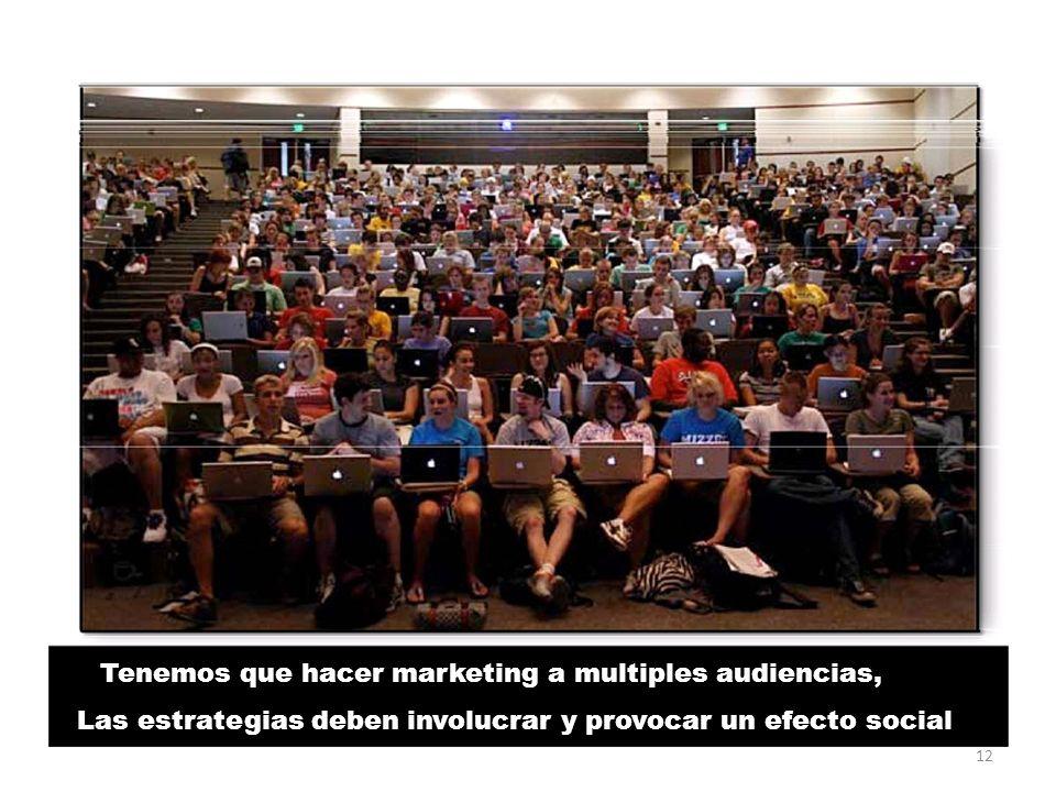 Tenemos que hacer marketing a multiples audiencias, Las estrategias deben involucrar y provocar un efecto social 12