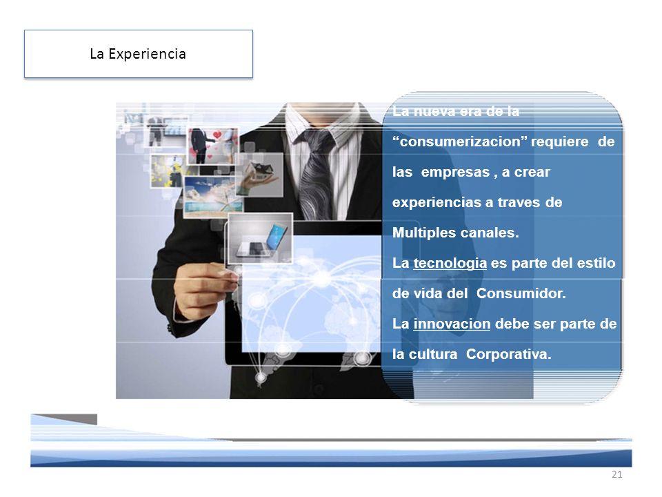 La nueva era de la consumerizacion requiere de las empresas, a crear experiencias a traves de Multiples canales.