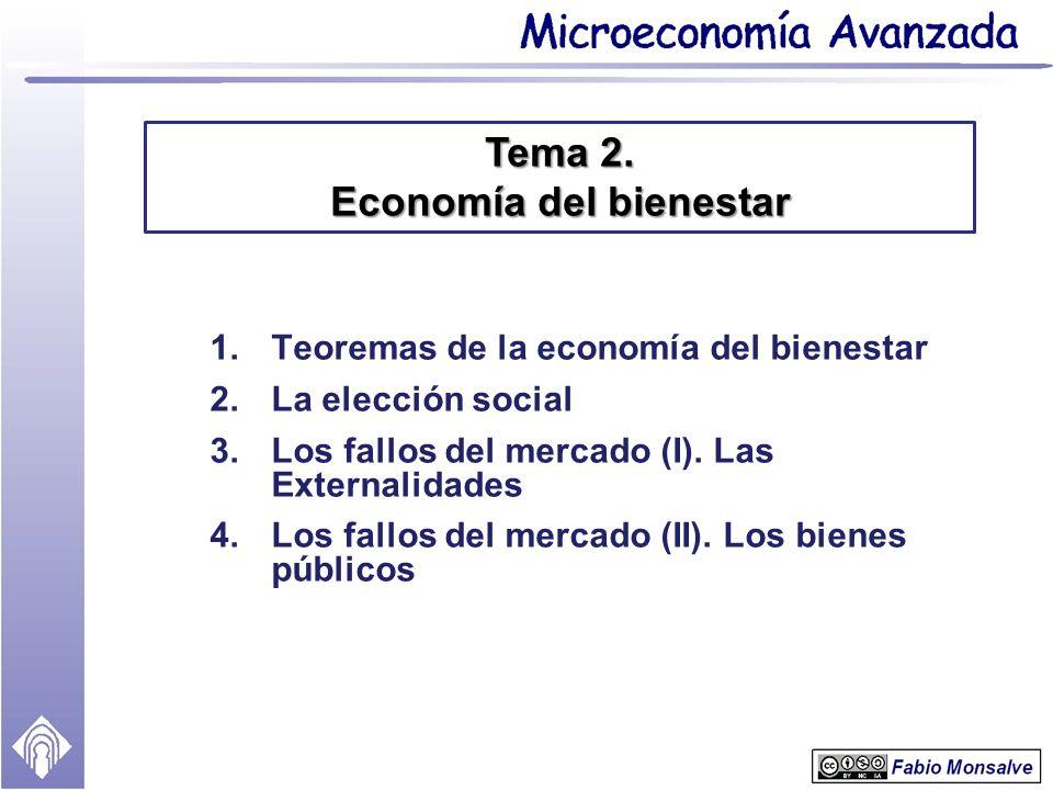 1.Teoremas de la economía del bienestar 2.La elección social 3.Los fallos del mercado (I). Las Externalidades 4.Los fallos del mercado (II). Los biene