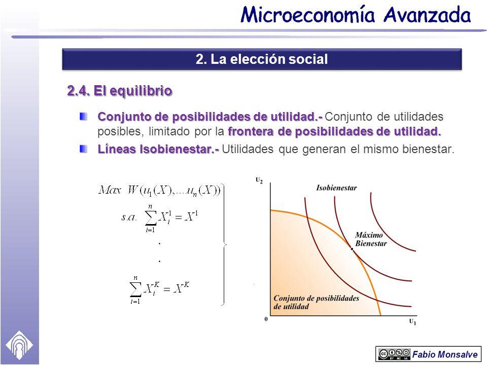 2. La elección social 2.4. El equilibrio Conjunto de posibilidades de utilidad.- frontera de posibilidades de utilidad. Conjunto de posibilidades de u