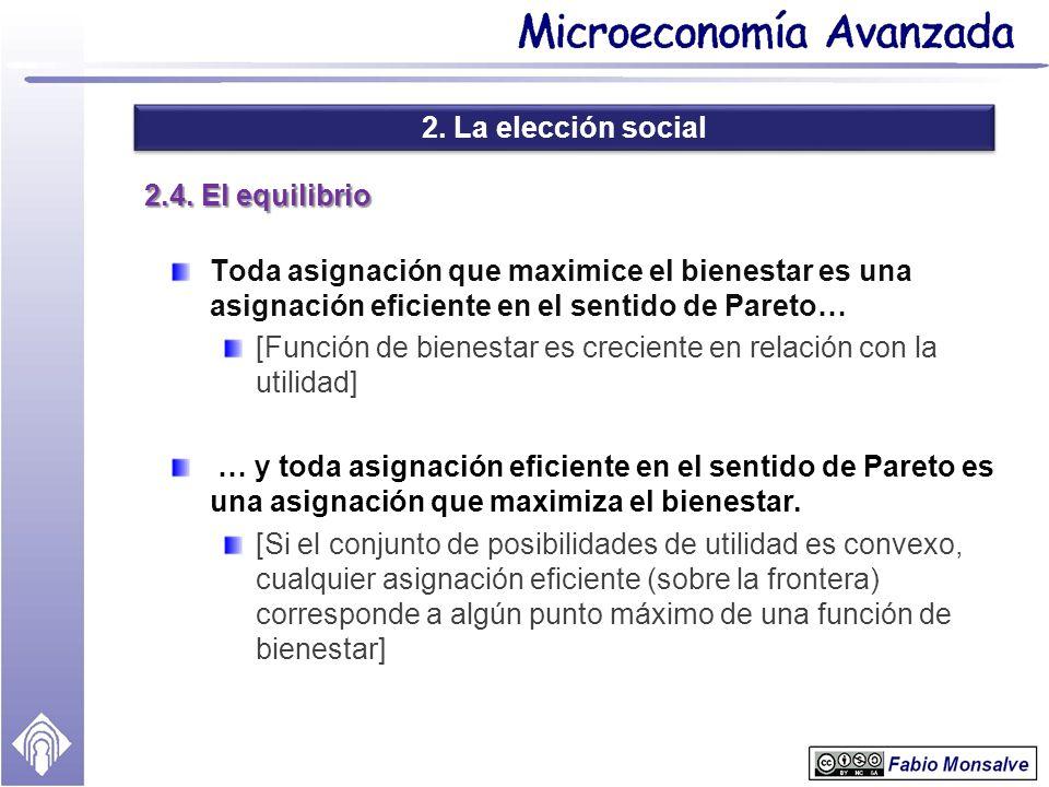 2. La elección social 2.4. El equilibrio Toda asignación que maximice el bienestar es una asignación eficiente en el sentido de Pareto… [Función de bi